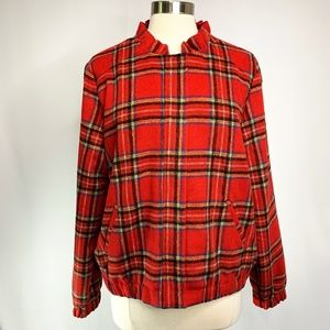 Christopher & Banks Red Plaid Wool Jacket Size M